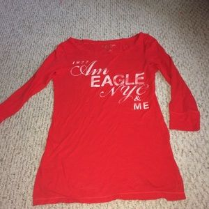 American Eagle Red 3/4 Arm length shirt